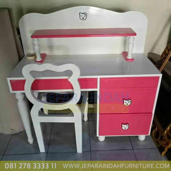 Meja Belajar Anak Hello Kitty Cat Pink Duco