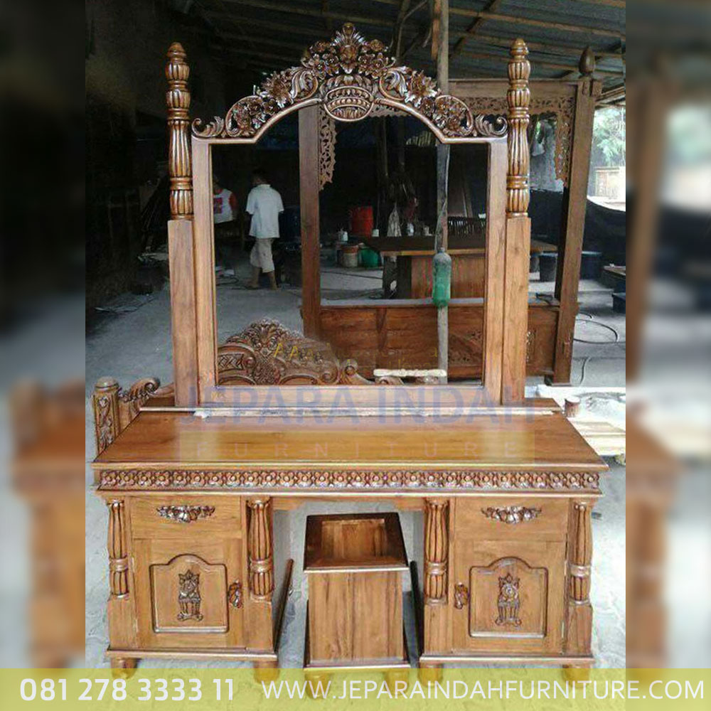 Meja Kaca Rias Kayu Jati Antique Ukiran