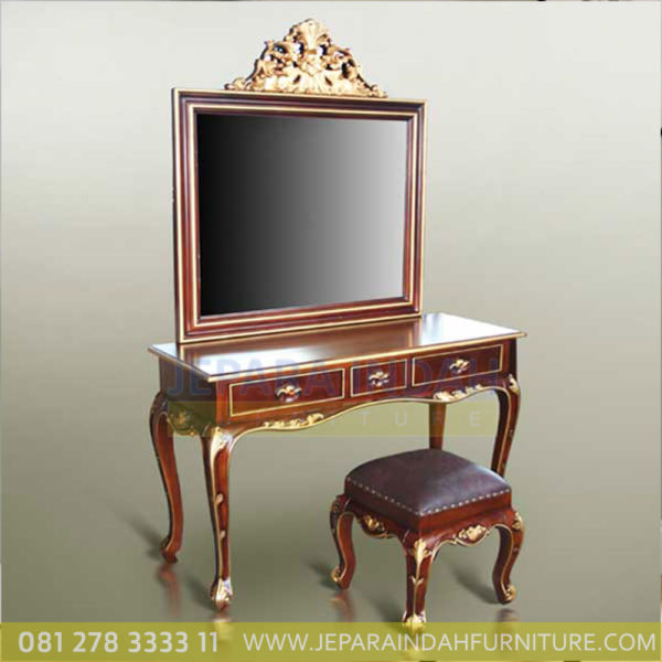 Meja Rias Princes Red Mahogany Gold Decor