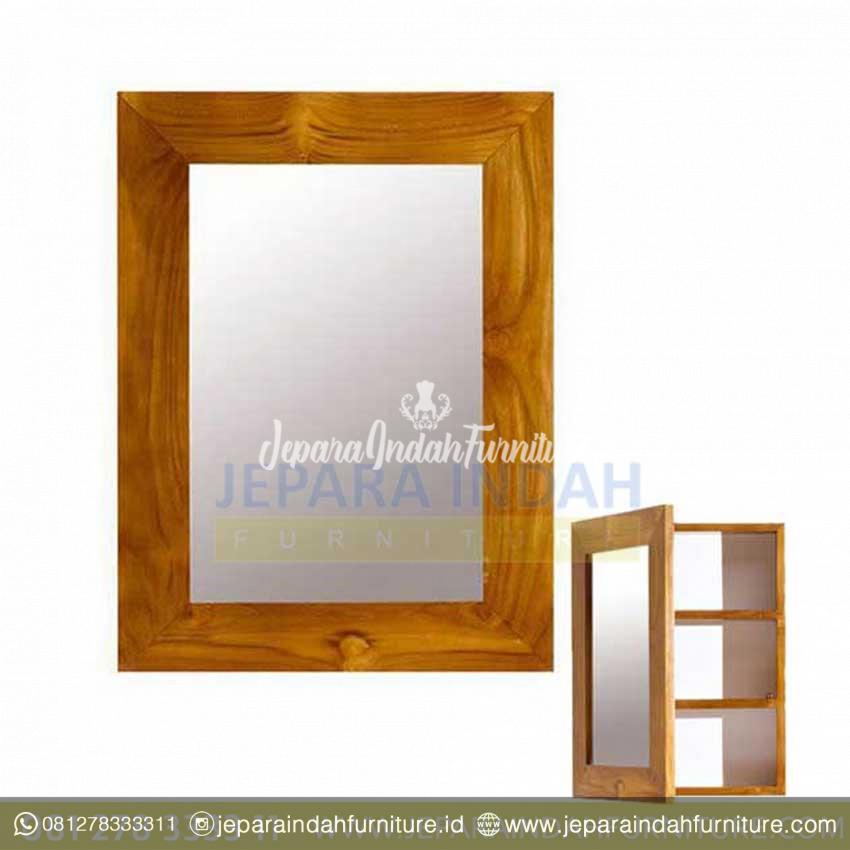Box Cermin Rak Peralatan Mandi Minimalis Kayu Jati