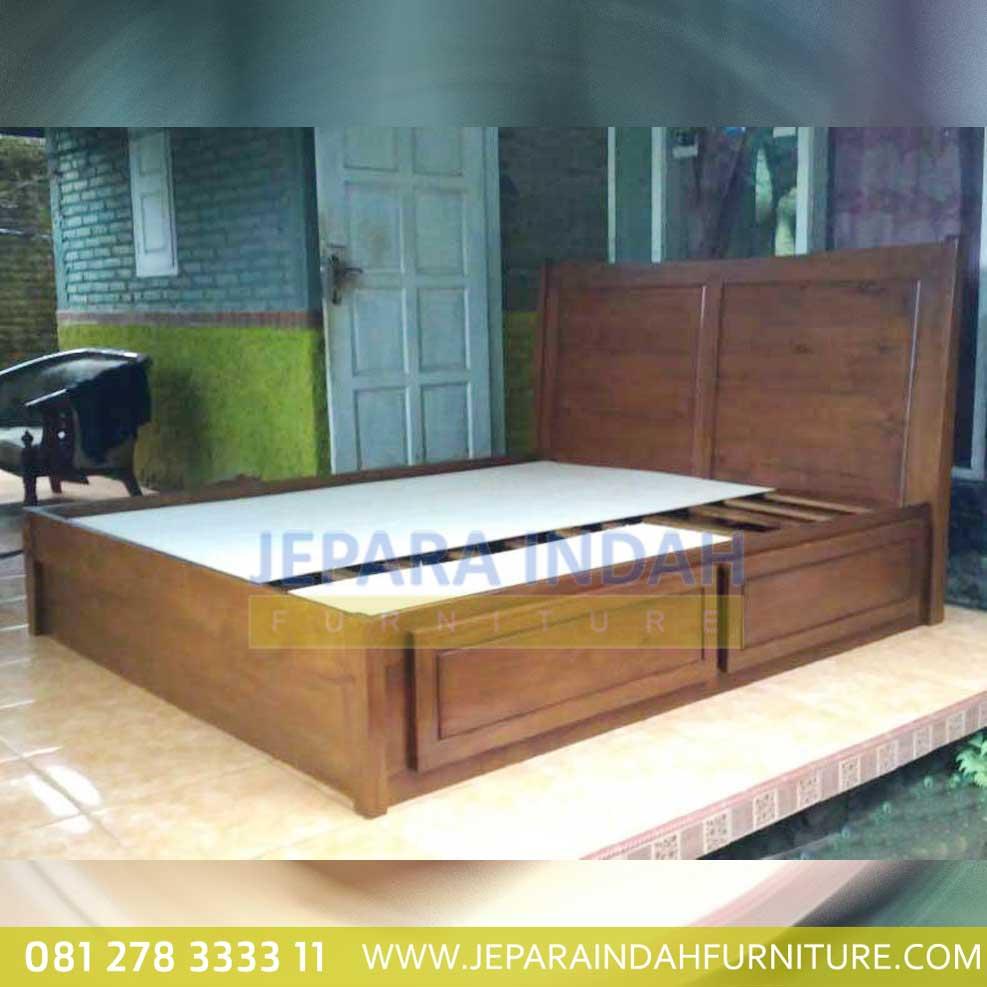 Tempat Tidur Minimalis 4 Laci Kayu Jati