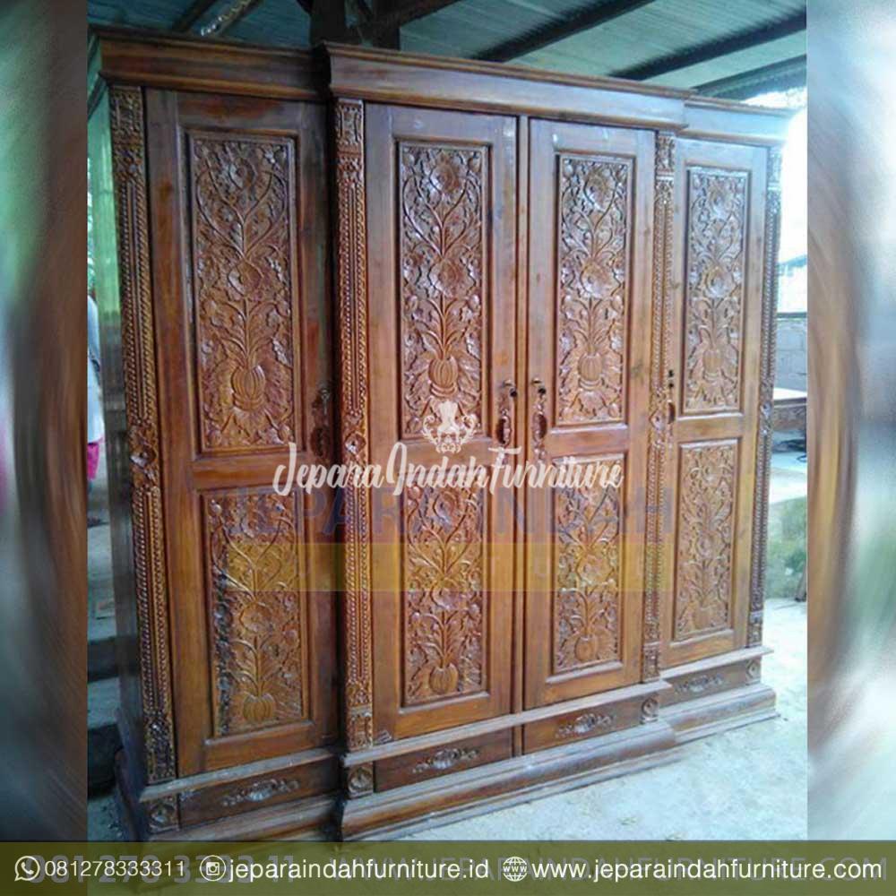 Jual Lemari Pakaian Antik Shania 4 Pintu Ukiran Jati