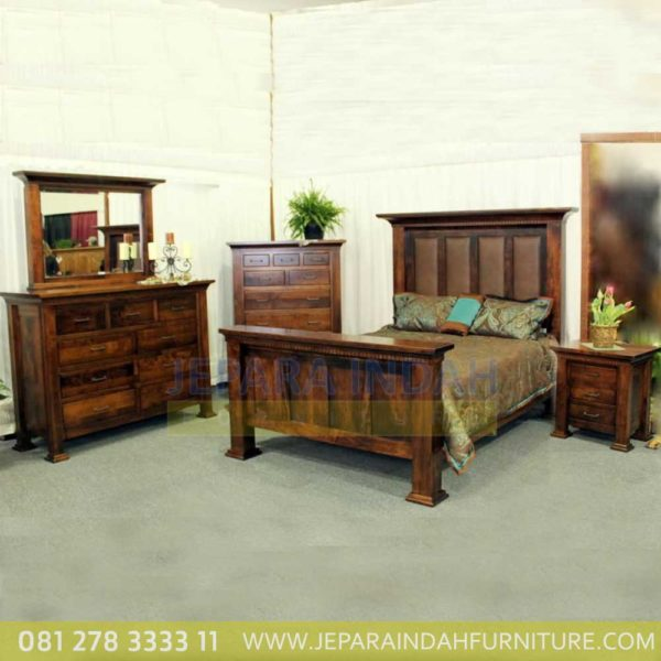 Jual Set Kamar Tidur Minimalis Andrea Kayu Jati Reclaimed