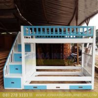 Jual Dipan Tempat Tidur Tingkat Minimalis Jati Cat Duco Shabby Putih Biru Jakarta