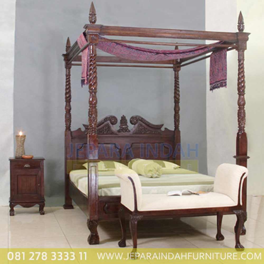 Dipan Jati Chippendale Canopy Klasik By Jepara Indah Furniture