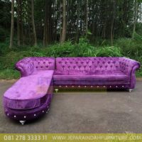 Jual Sofa Sudut Besar Full Busa Kain Ungu