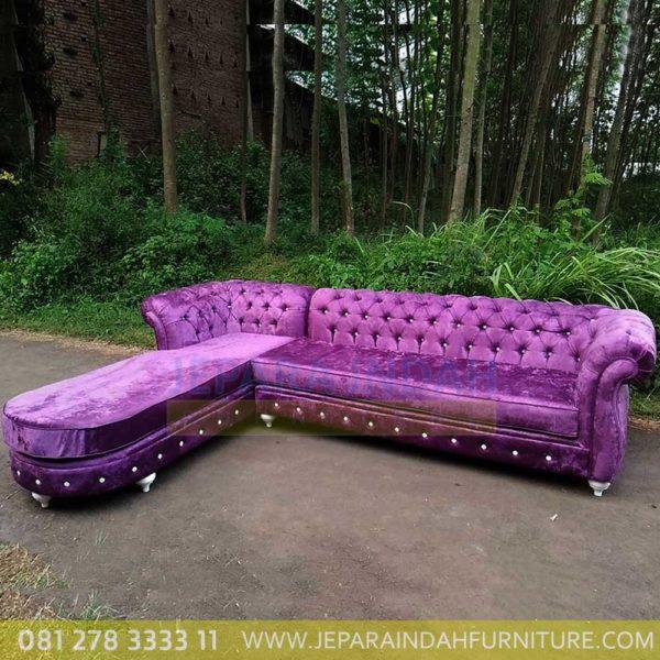 Jual Sofa Sudut Besar Full Busa Kain Ungu Besar