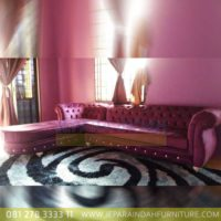 Jual Sofa Tamu Sudut Istimewa Kain Pink