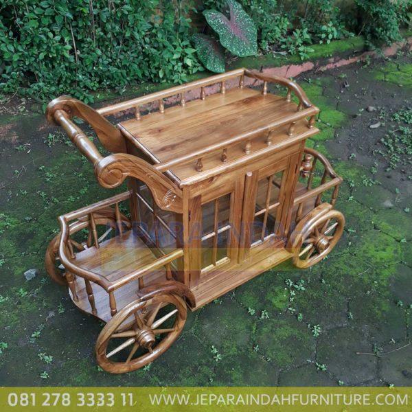 Harga Jual Meja Teh Model Trolley Ukir Jati Murah