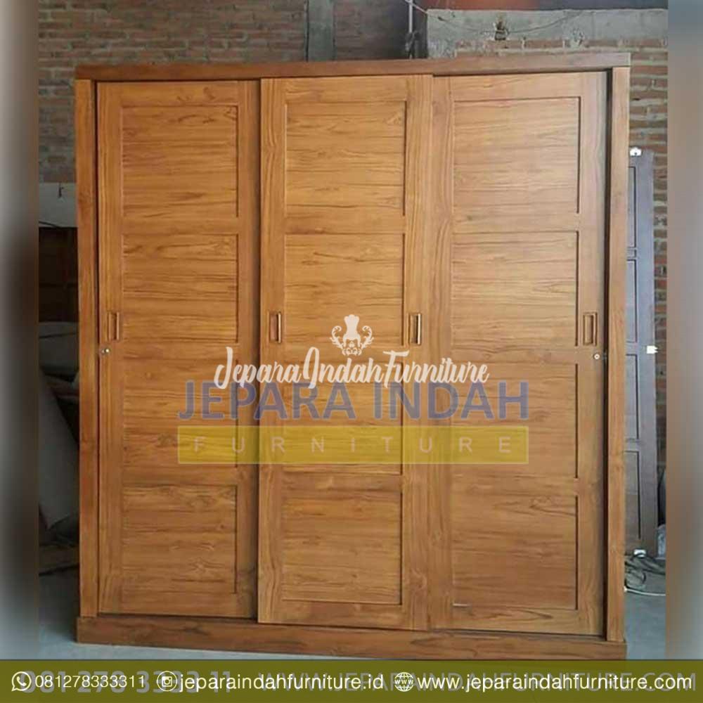 Murah Lemari Baju Jati Modern 3 Pintu Sliding By Jepara Indah Furniture Harga lemari 3 pintu