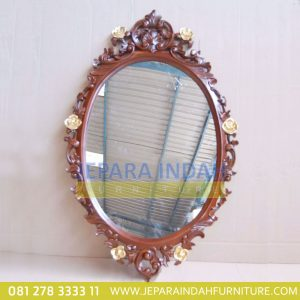Harga Jual Cermin Hias Oval Ukir Mawar (HDF PCH 001)