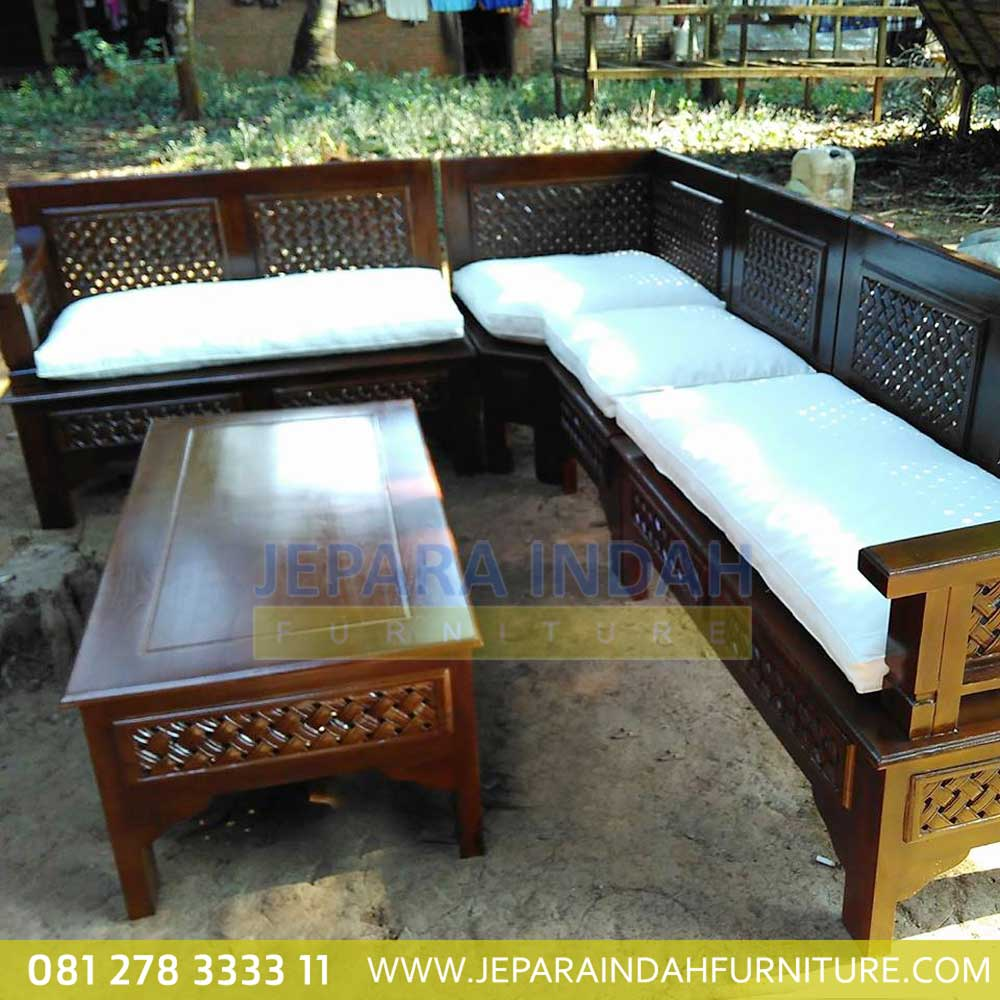 Murah Kursi Tamu Sudut Jati Minimalis Kepang By Jepara Indah Furniture Gambar kursi jati minimalis