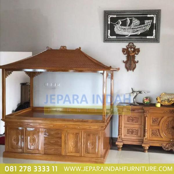 Toko Jual Bufet Aquarium Jati Ukir Bunga Elegant (HDF LAQ 001 5D)