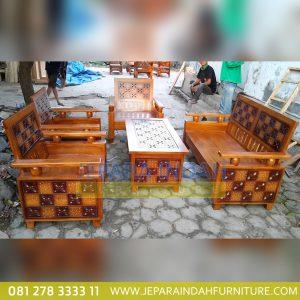 Harga Jual Set Kursi Tamu Jati Ukir Kawung Minimalis (LRF SKT 030)